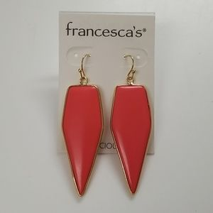 Francesca's Semi-Precious Neon Coral Earrings NEW